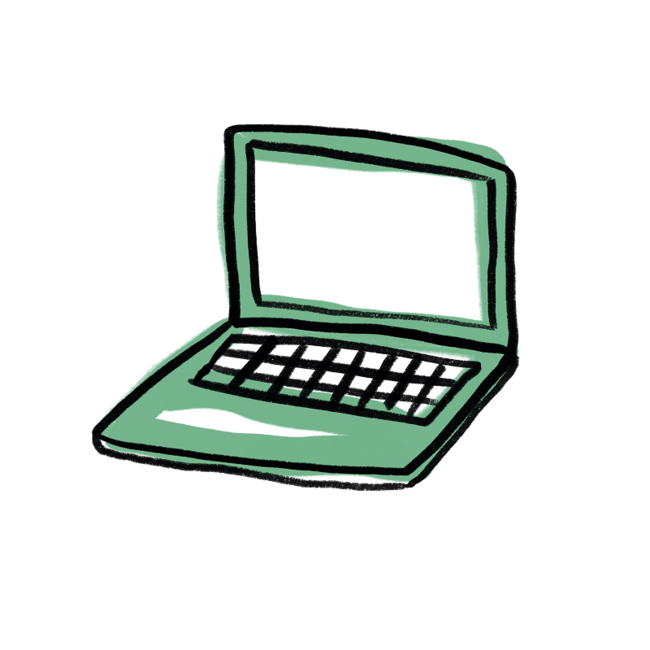 Illustration grüner Laptop